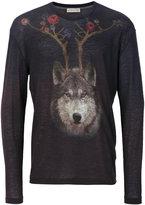 Etro wolf print fine knit jumper