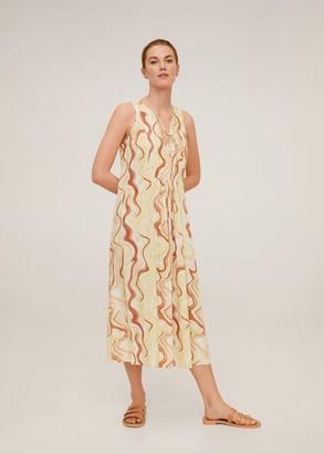 MANGO Flowy printed dress beige - 2 - Women