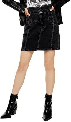 Topshop Notch Waist Denim Miniskirt