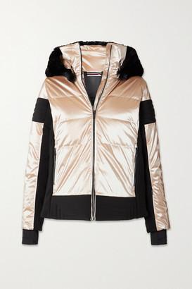 Fusalp Gardena Hooded Faux Fur-trimmed Paneled Metallic Ski Jacket - Blush