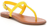 GB All-Access Woven Leather T-Strap Open Toe Thong Sandals