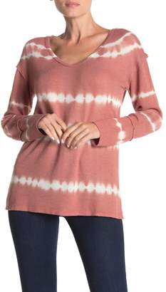 C&C California Tie Dye Stripe Lace Panel Long Sleeve T-Shirt