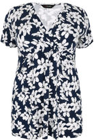 Yours Clothing YoursClothing Plus Size Womens Ladies Tee Top Shirt Top Floral Print Waist Tie