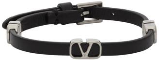 Valentino Black Garavani Calfskin VLogo Bracelet