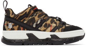 Burberry Black and Beige Leopard Union Sneakers