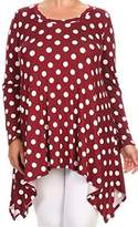 BNY Corner Women Plus Size Small Polka Dot Asymmetrical Casual Tunic Top Shirt