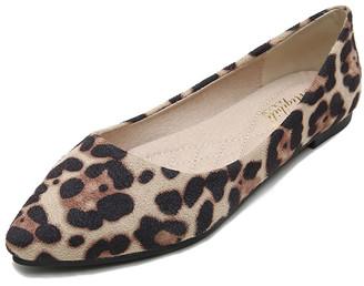Puiie Walk Women's Loafers KHAKI - Khaki Leopard Pointed-Toe Suede Flat - Women