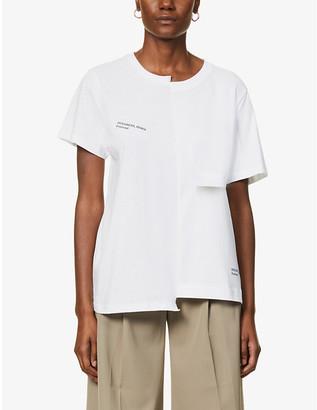 Designers Remix #8 text-print upcycled cotton-blend T-shirt