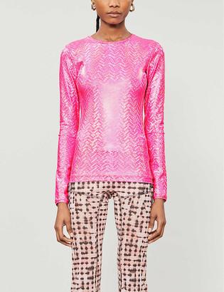 Saks Potts Saya metallic polka dot-print stretch-jersey T-shirt
