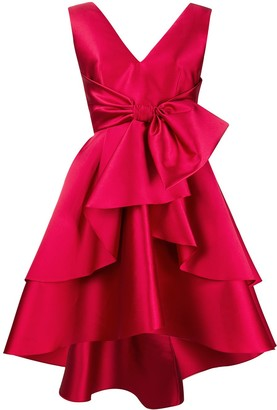 Alberta Ferretti Large Bow-Tie Flared Dress