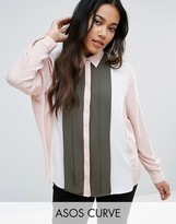Asos Pleated Color Block Shirt
