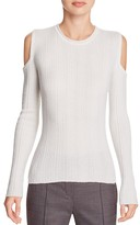 Elie Tahari Marla Cold Shoulder Ribbed Sweater