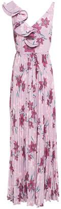 ML Monique Lhuillier Ruffled Pleated Floral-print Crepe De Chine Gown