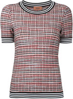 Missoni checked & striped knitted T-shirt - women - Nylon/Viscose/Wool - 40