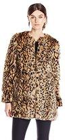 Steve Madden Women's Leopard Faux Fur Coat