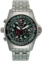 Torgoen T10402B04 Men's Aviator Quartz Titanium Watch with Chronograph and Steel Bracelet