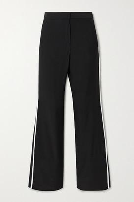 La Ligne Le Tuxedo Two-tone Crepe Wide-leg Pants - Black