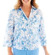 Alfred Dunner St. Kitts 3/4-Sleeve Leaf Print Shirt