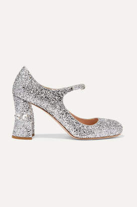 Miu Miu Crystal-embellished Glittered-leather Mary Jane Pumps - Silver