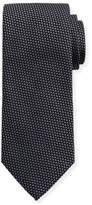 Eton Woven Two-Tone Textured Neat Silk Tie, Gray