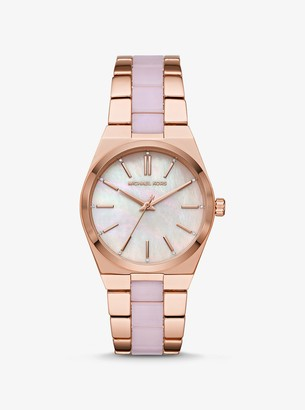 Michael Kors Channing Rose Gold-Tone and Acetate Watch