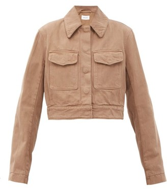 Lemaire Cropped Garment-dyed Denim Jacket - Light Brown