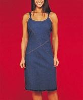 Le Mieux Blue Denim Fringe-Trim Scoop Neck Dress