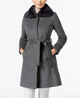 Via Spiga Rabbit-Fur-Trim A-Line Walker Coat