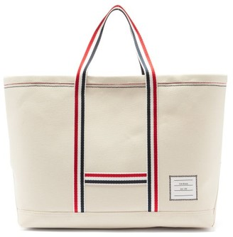 Thom Browne Logo-patch Cotton-canvas Tote - Beige
