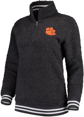 Women's Charcoal Clemson Tigers Varsity Banded Sherpa Quarter-Zip Pullover Jacket
