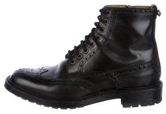 Gucci Wingtip Leather Brogue Combat Boots