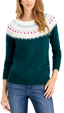 Style&Co. Style & Co Beaded Fair Isle Sweater, Created for Macy's