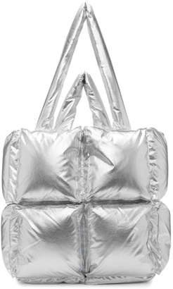 Off-White Off White Silver Nylon Small Puffy Tote