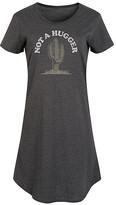 Instant Message Women's Women's Tee Shirt Dresses HEATHER - Heather Charcoal 'Not a Hugger' Cactus Short-Sleeve Dress - Women & Plus