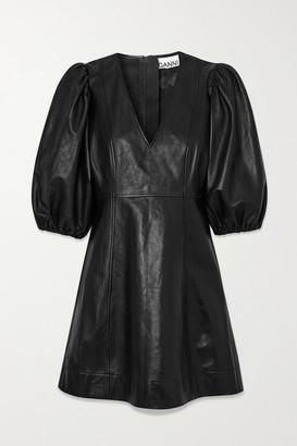 Ganni Leather Mini Dress - Black