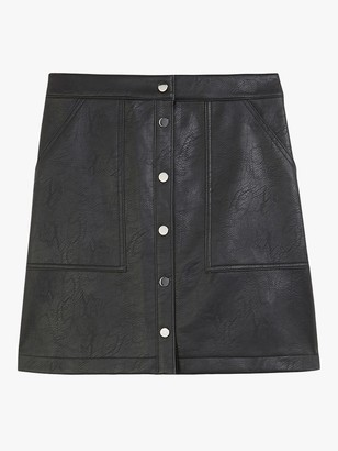 Oasis Faux Leather Mini Skirt, Black
