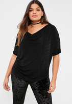 Missguided Plus Size Black Cowl Front Slinky Top