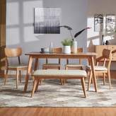 Homevance HomeVance Skagen Natural Finish Dining Table, dining Chair & Bench 6-piece Set