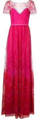 Marchesa Notte Long Lace Dress
