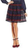 Trina Turk Leland Plaid Print Lace A-Line Skirt