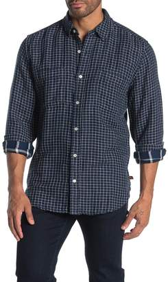 7 For All Mankind Grid Print Trim Fit Worker Shirt