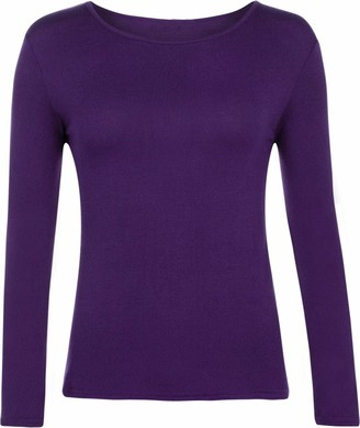 Er Traders Ltd Ladies Women Basic Long Sleeve Plain Round Neck Ladies Stretch Plus Size Top T Shirt (Purple UK XL)
