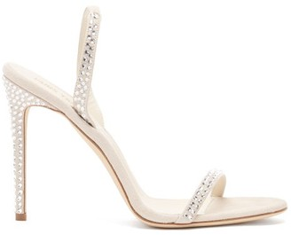 Paris Texas Holly Crystal-embellished Suede Sandals - White Silver