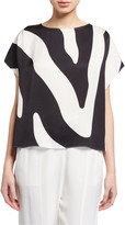 Milly Zebra Print High-Low Dolman Top