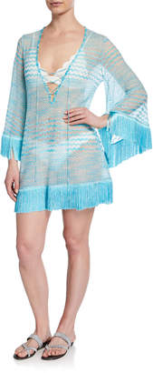 Missoni Mare Knit Lace-Up Caftan with Fringe