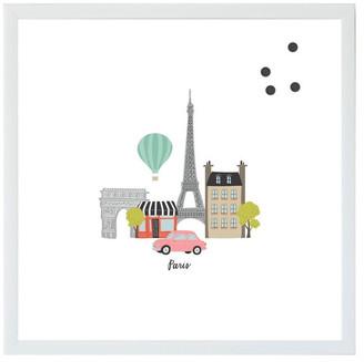 "Petal Lane ""Paris City Street Scene"" Magnet Board With White Frame, 24""x24"""