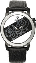 Croton Rhonda Mens Tungsten Bezel Lizard-Look Black Leather Strap Watch