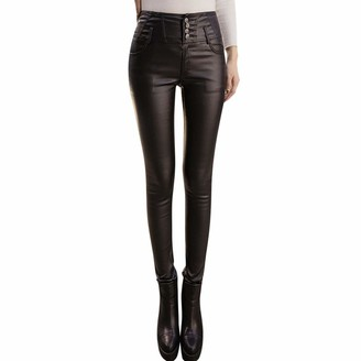 Jiegorge Pants Fashion Women Solid Casual Keep Warm Trousers Sexy Leather Tight Leggings Pants