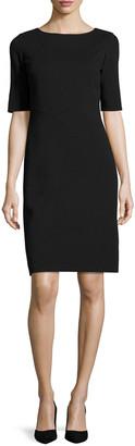 Lafayette 148 New York Asymmetric-Seamed Punto Milano Sheath Dress