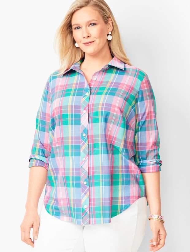Talbots Classic Cotton Shirt - Madras Plaid
